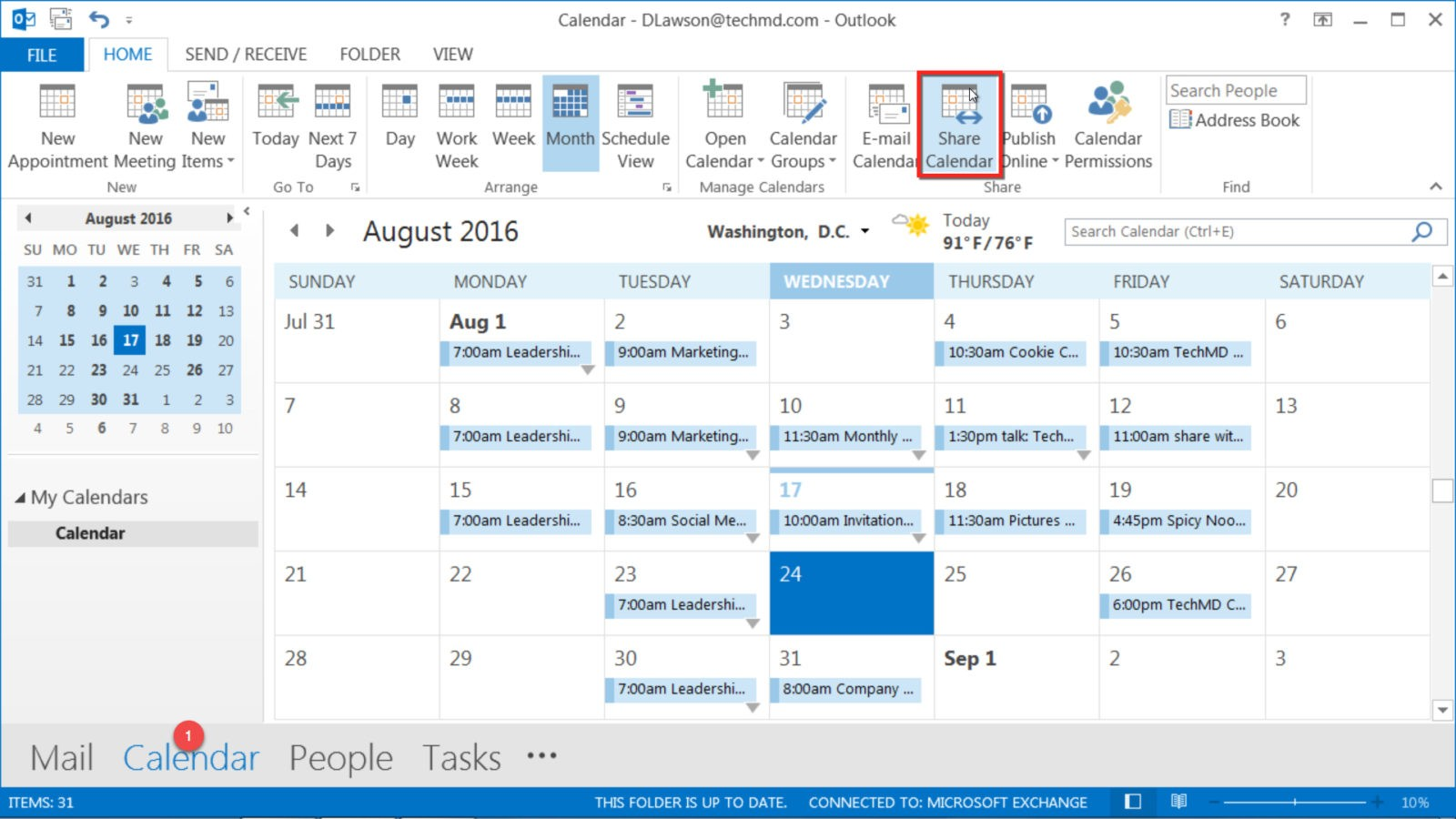 sharing calendars in outlook