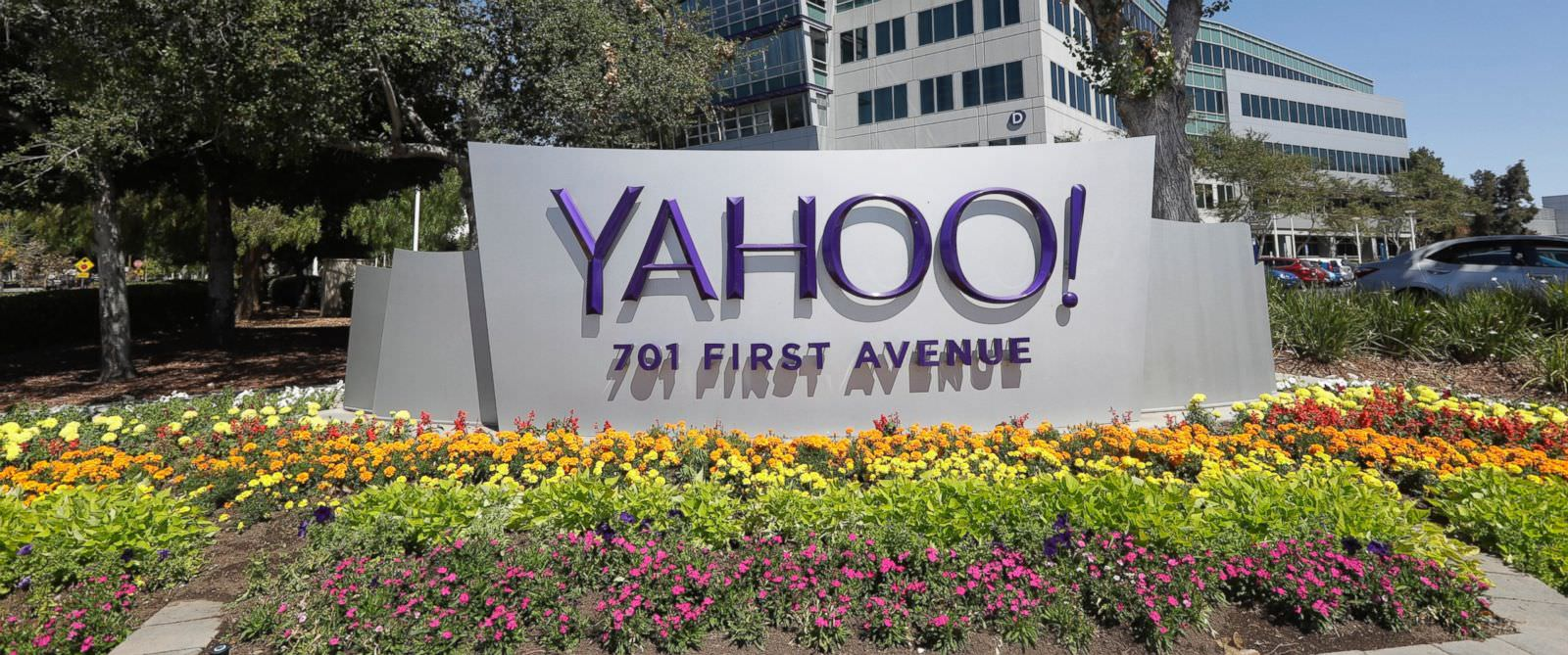 the Yahoo sign at company headquarters
