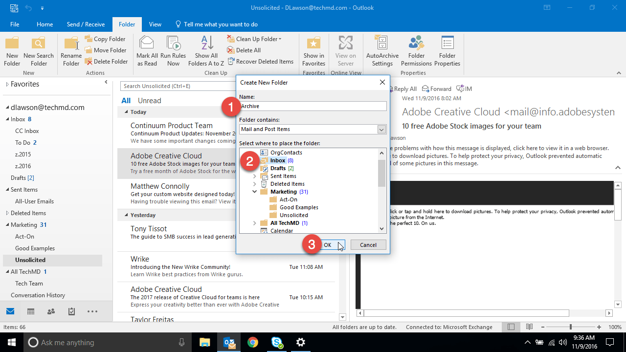 how to create a new archive folder in outlook 2010