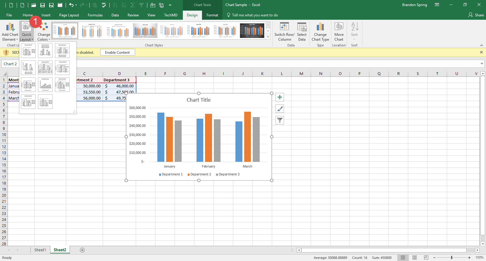 One Minute Wednesday Creating An Excel Chart