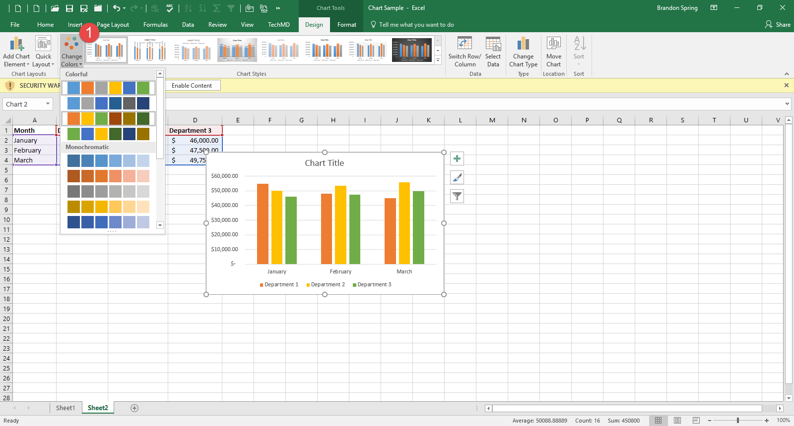 Change color of lines in excel graph - If You Click The Drop Down Menu In The Center Of The Ribbon Bar You Will Find A List Of Several Chart Styles To Choose From Should You Wish To Adapt The