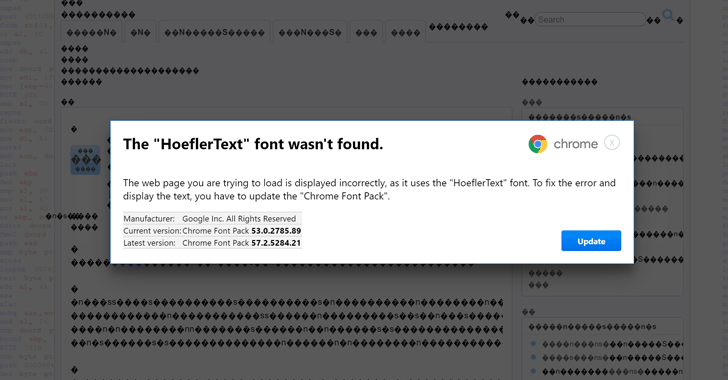 The initial HoeflerText pop-up asking to update the missing font