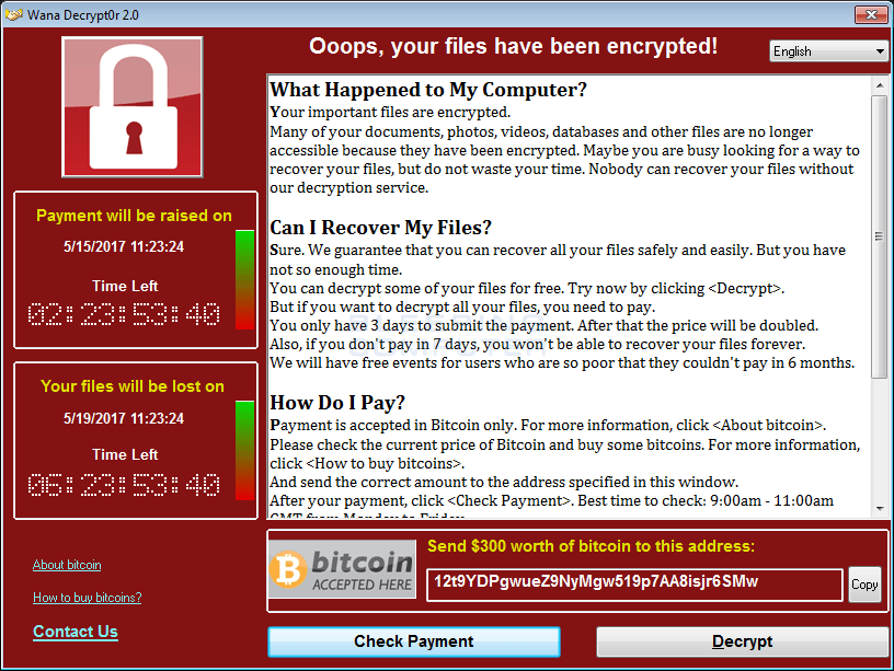 The WannaCry Ransomware Payment Window