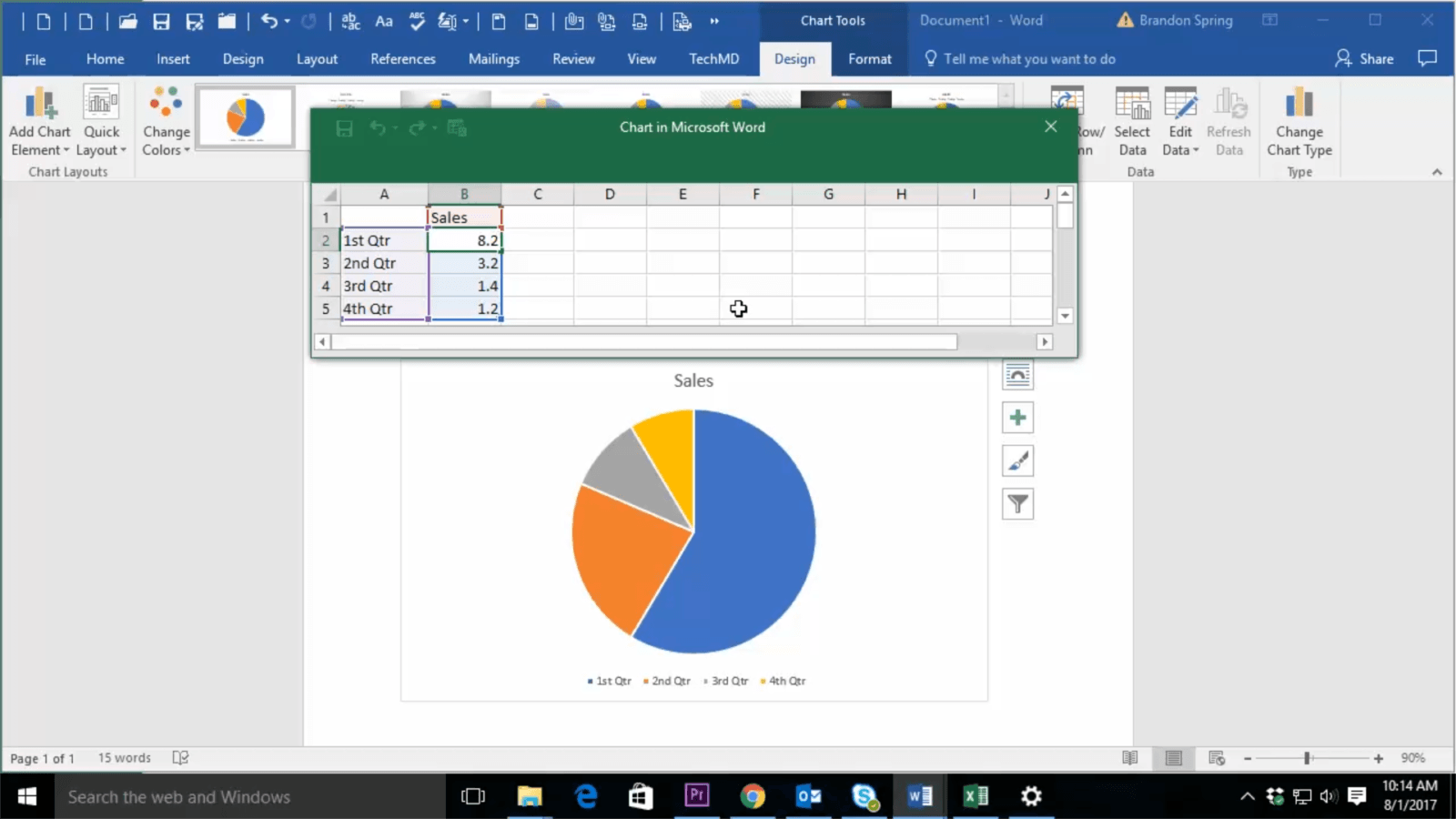 One Minute Wednesday Visualize Data With Microsoft Word Charts