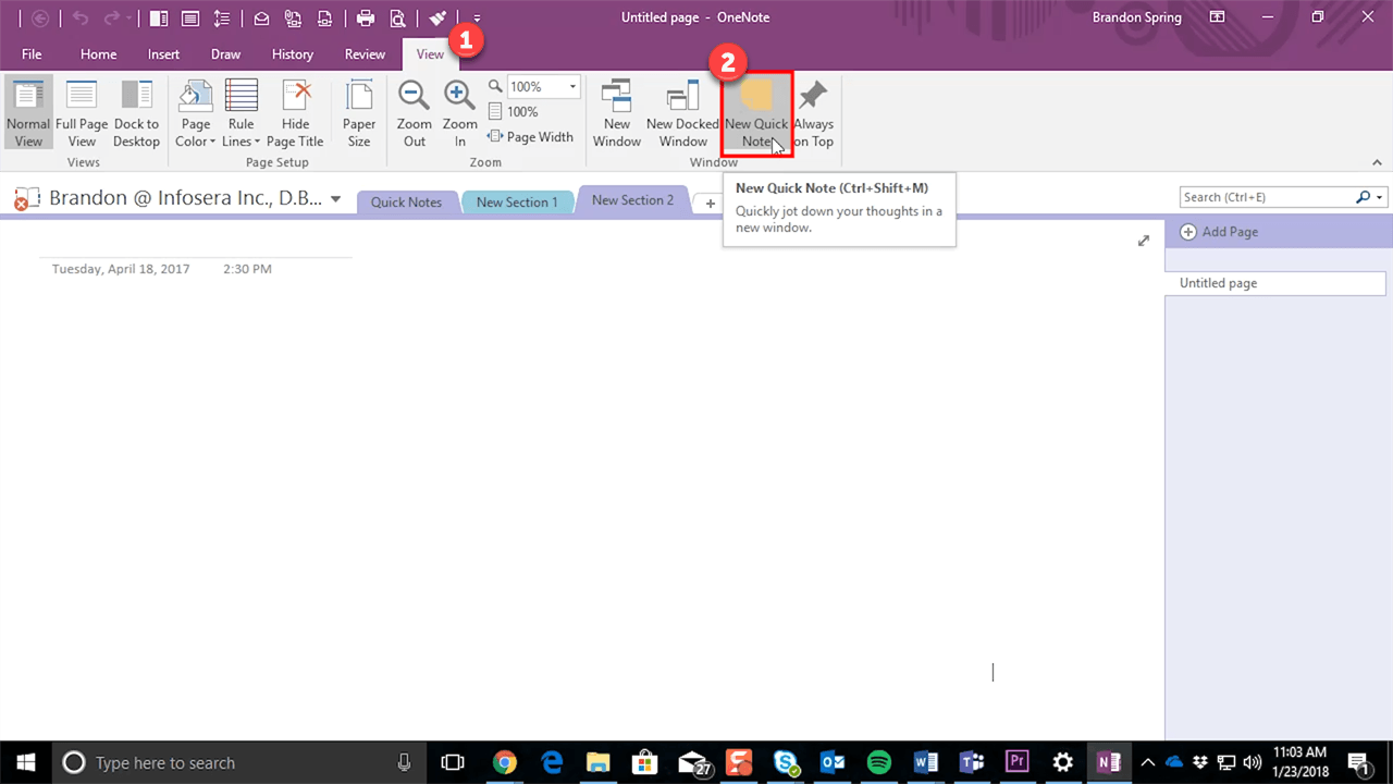 OneNote View Tab