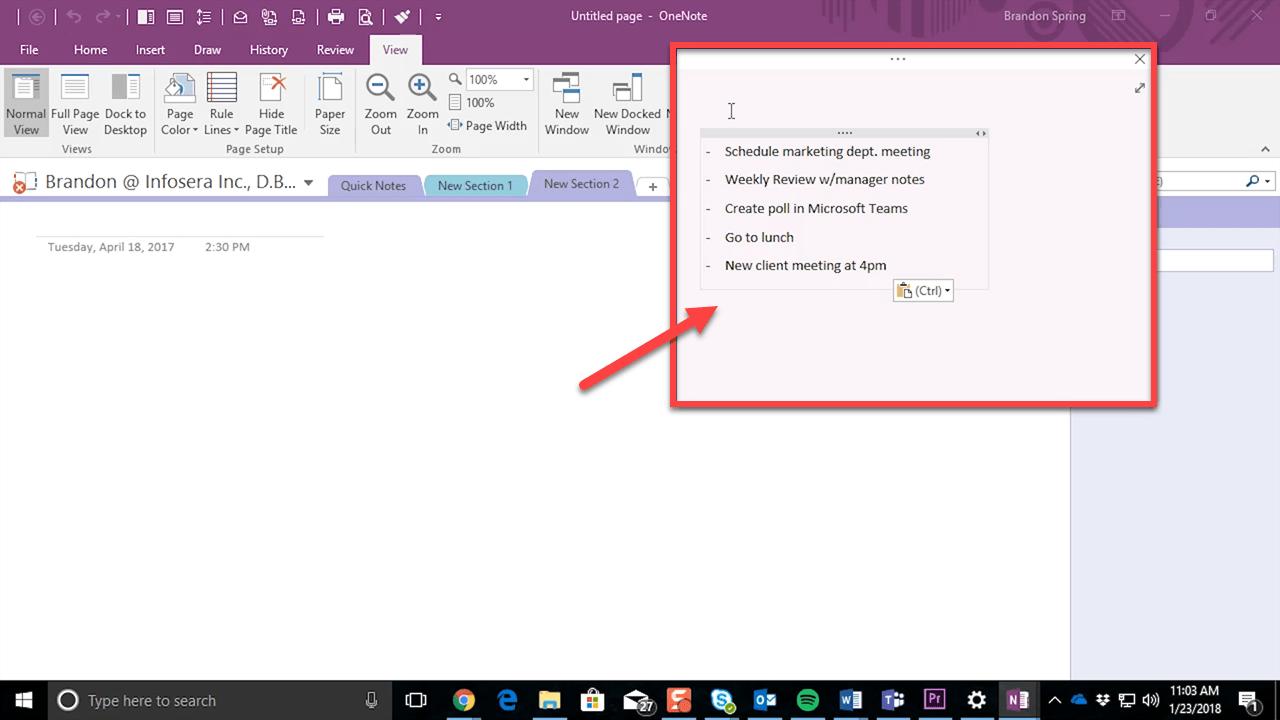 Quick Note Window