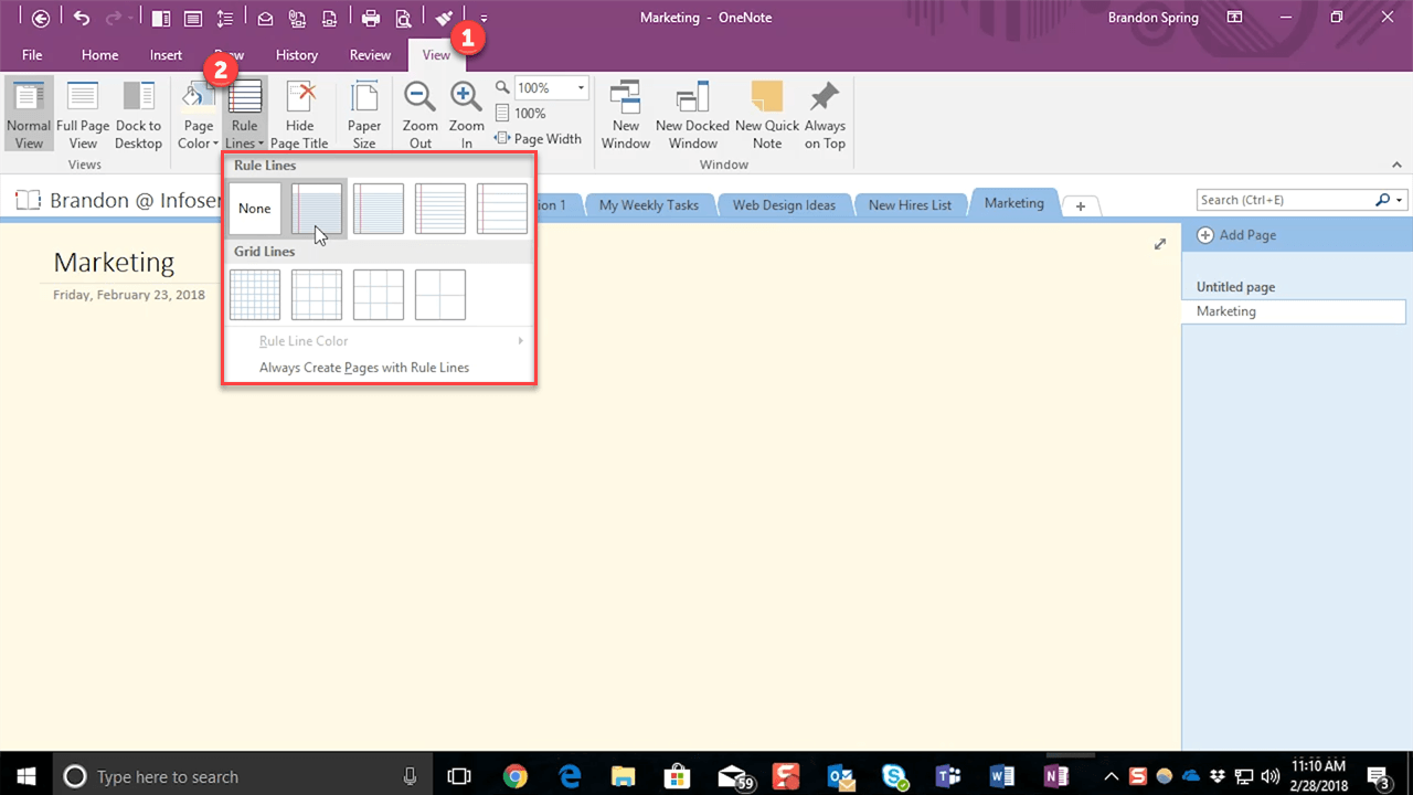 Adding Page Lines