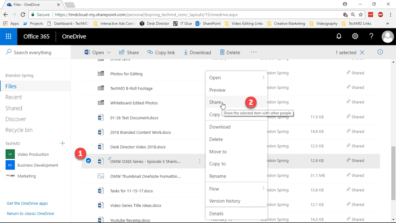 Sharing in OneDrive