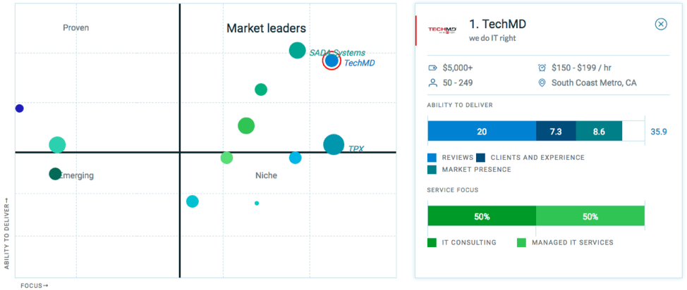 Market Leaders Matrix of IT Service Companies in LA