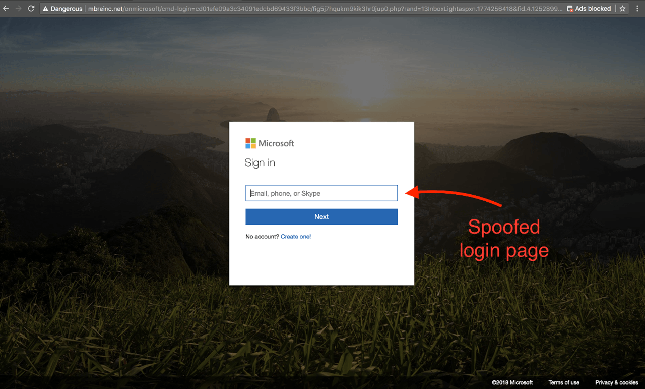 Spoofed Login Page